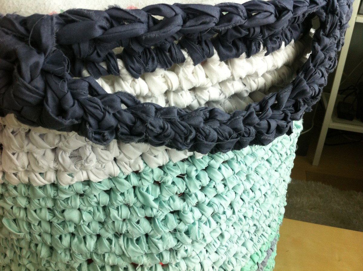 Rag Rug Basket - Cute Crochet Handles for the Rag Rug Basket.