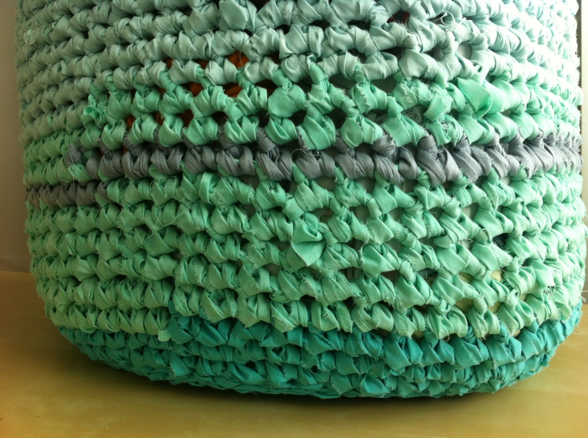Rag Rug Basket - Transition from Bottom to Sides of cute Rag Rug Basket.