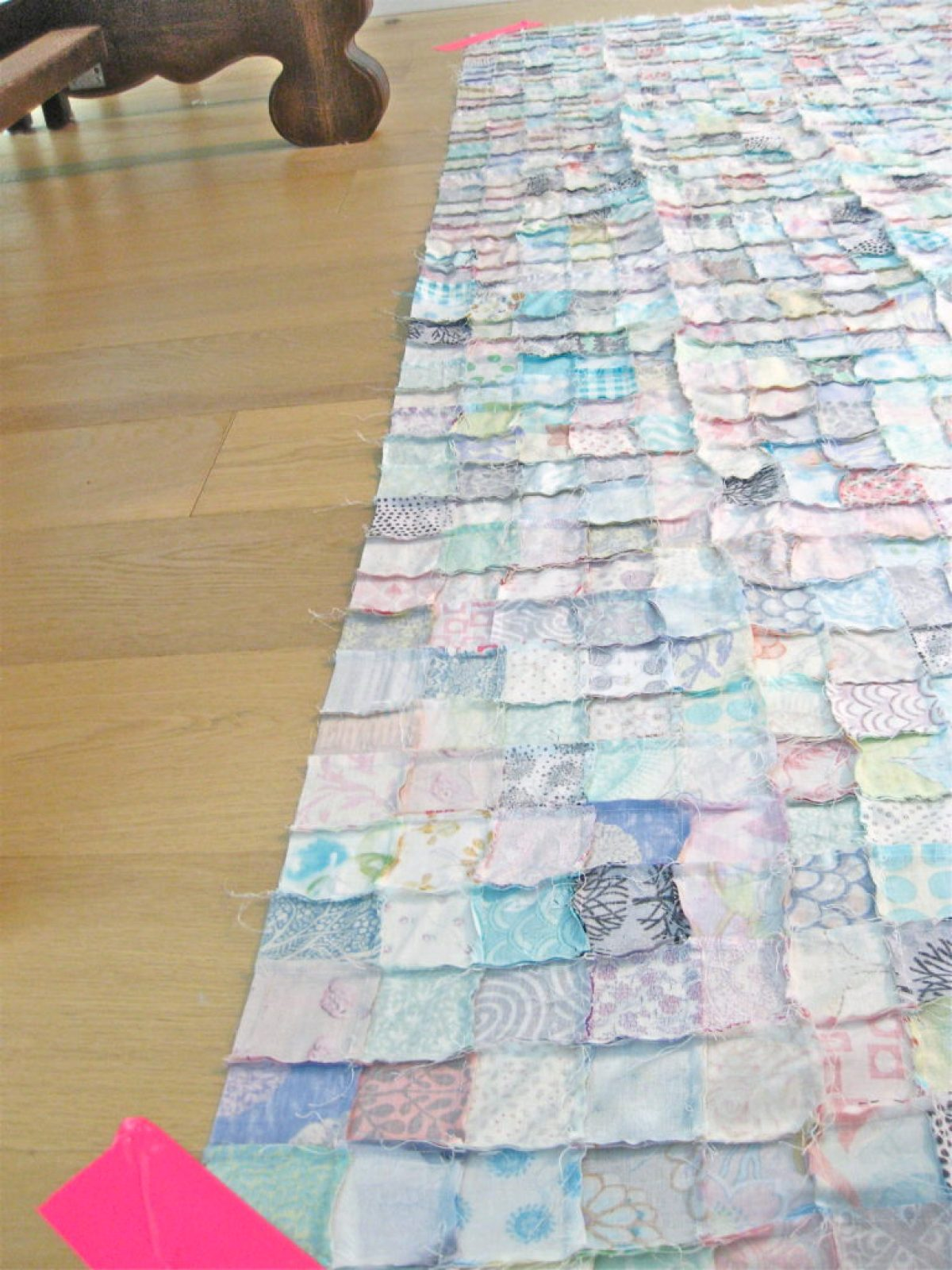 DIY Queen sized chenille quilt - first layer of quilt sandwich