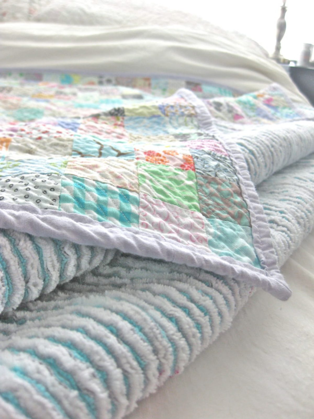 DIY Queen sized chenille quilt - compleated