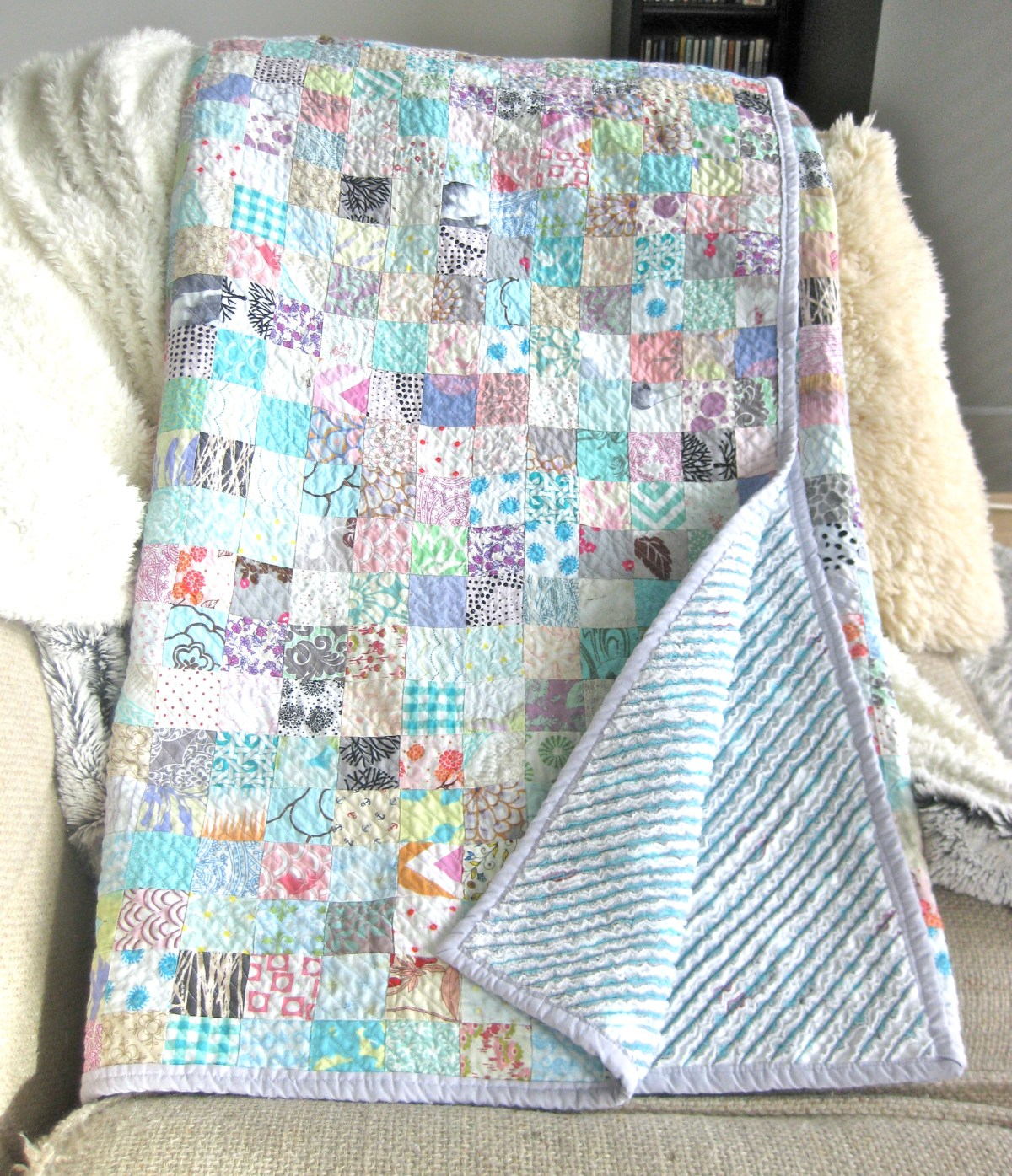 DIY Queen sized chenille quilt - beautifuly compleated