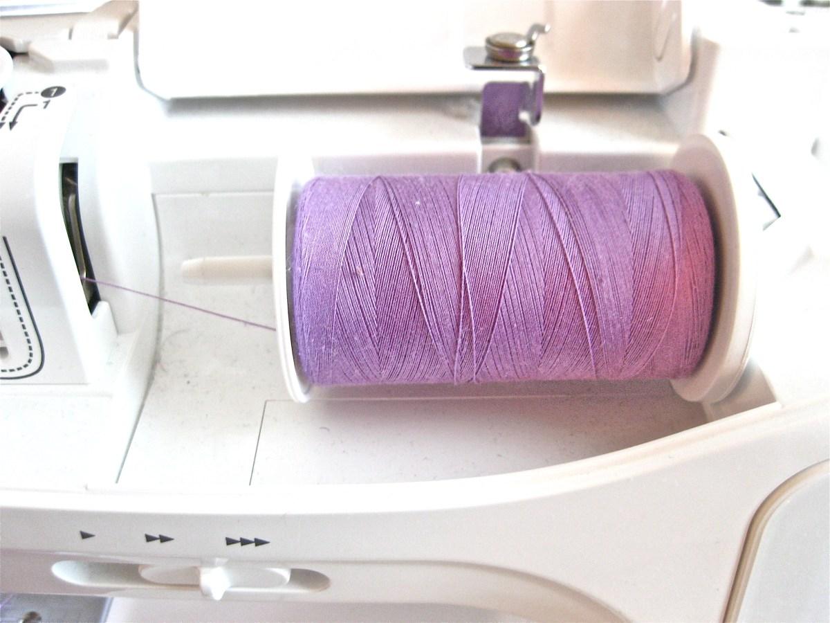 Purple thread for Baby bib tutorial