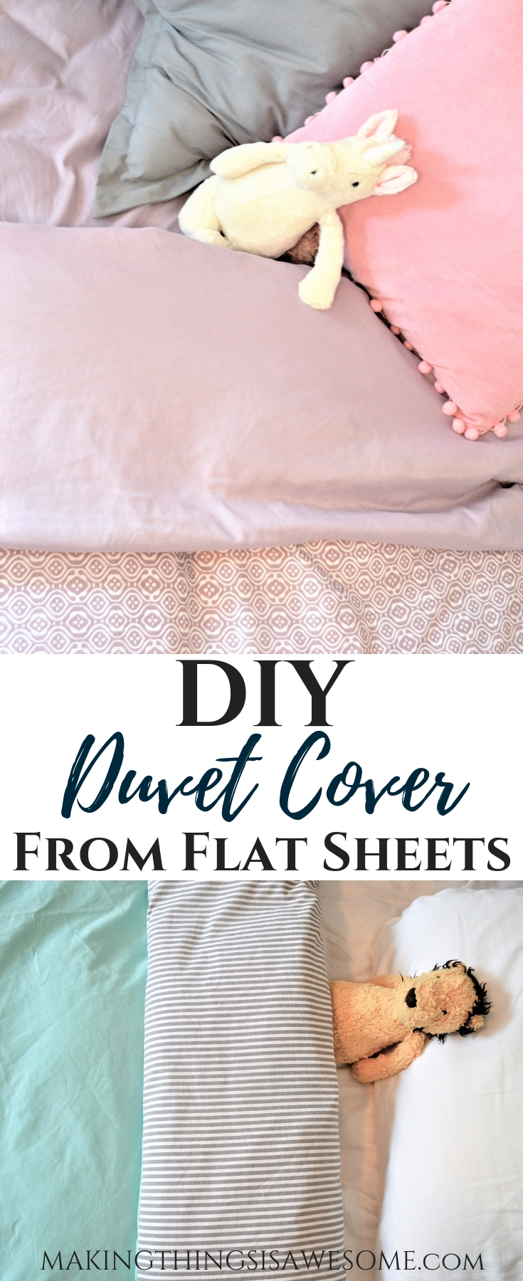 DIY Duvet Cover From 2 Flat Sheets