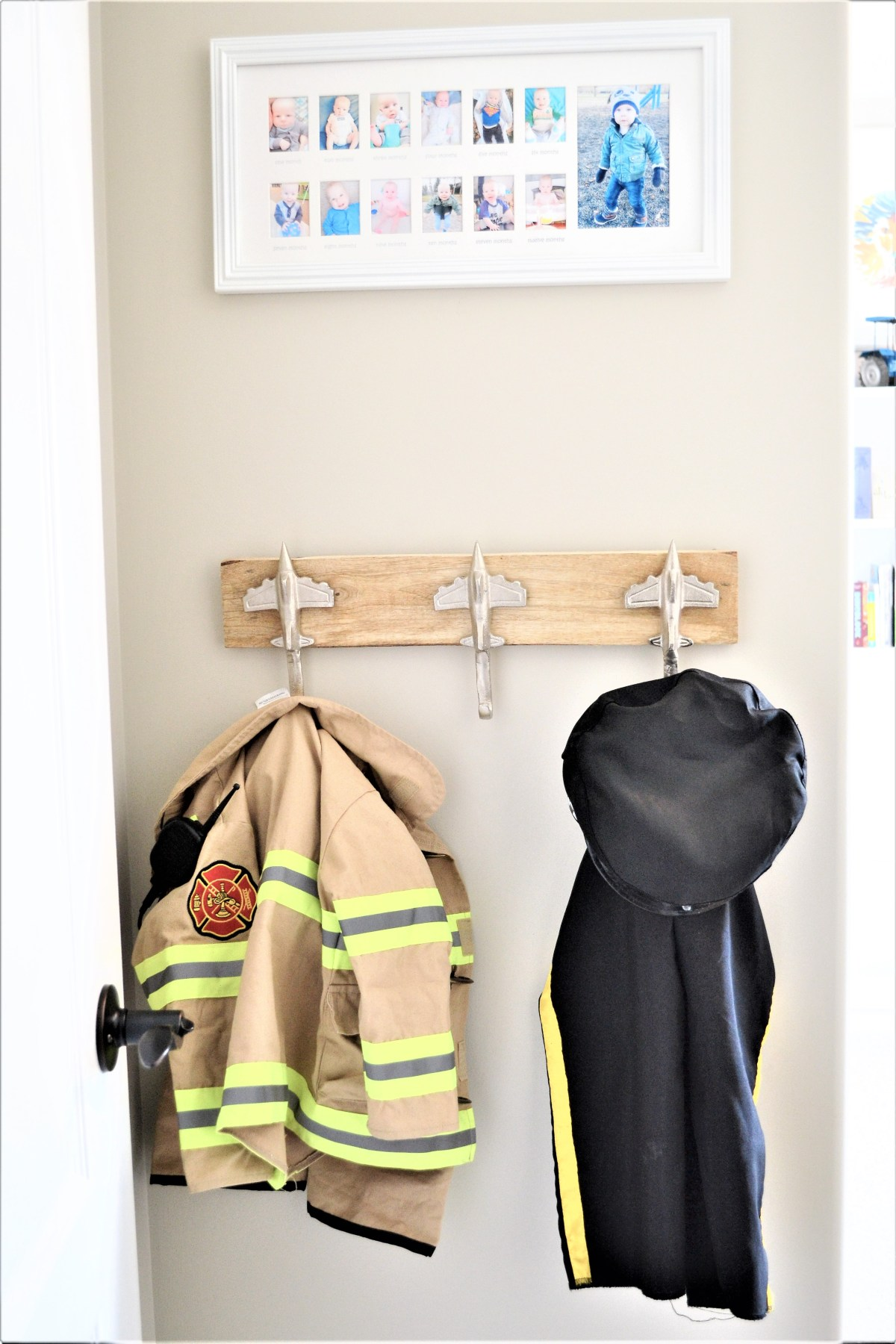 How to decorate your kids room with silver accents - row of silver hooks