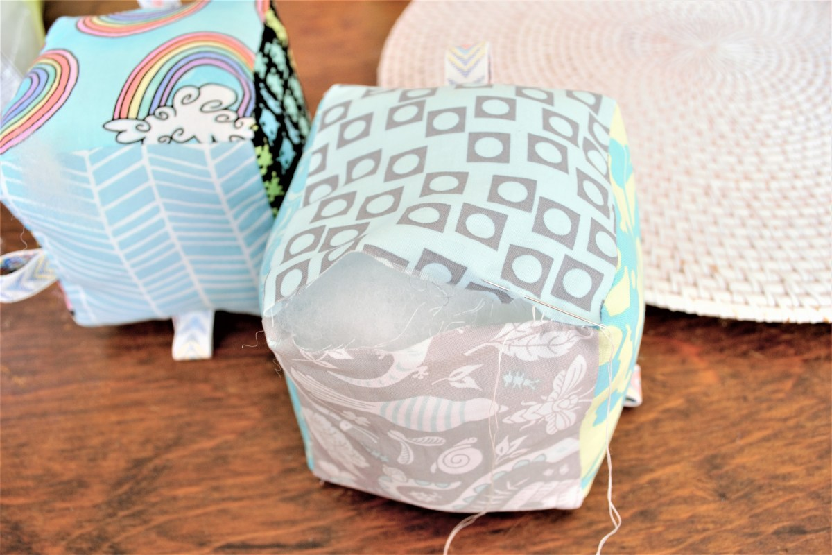 How to Sew Baby Blocks With Taggies! - hand stitch closed