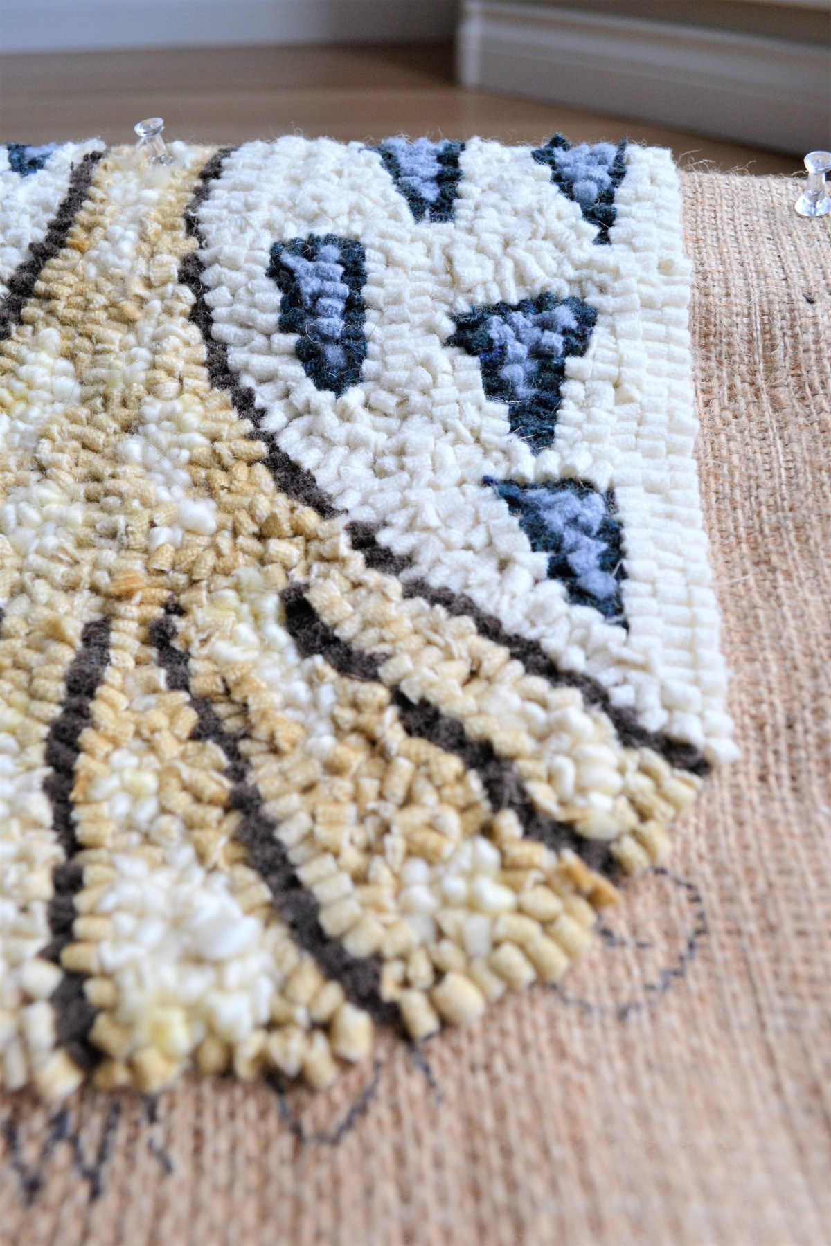 Rug Hooking - owl feathers