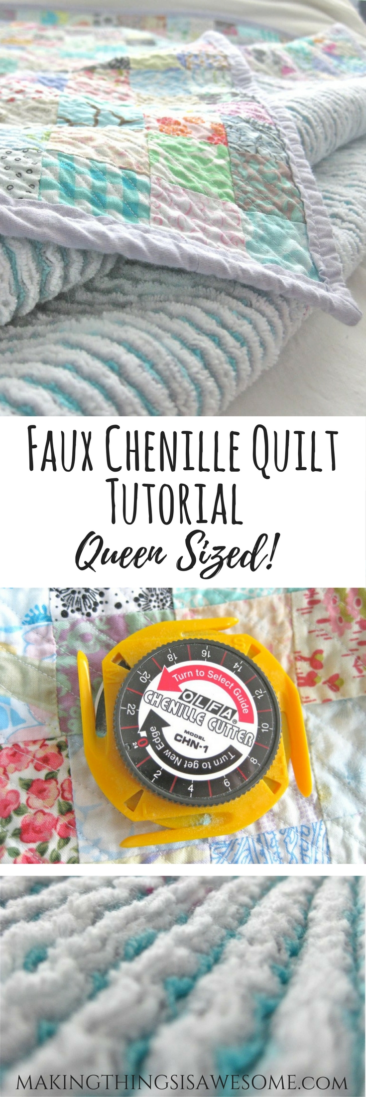 Faux chenille quilt tutorial - pin