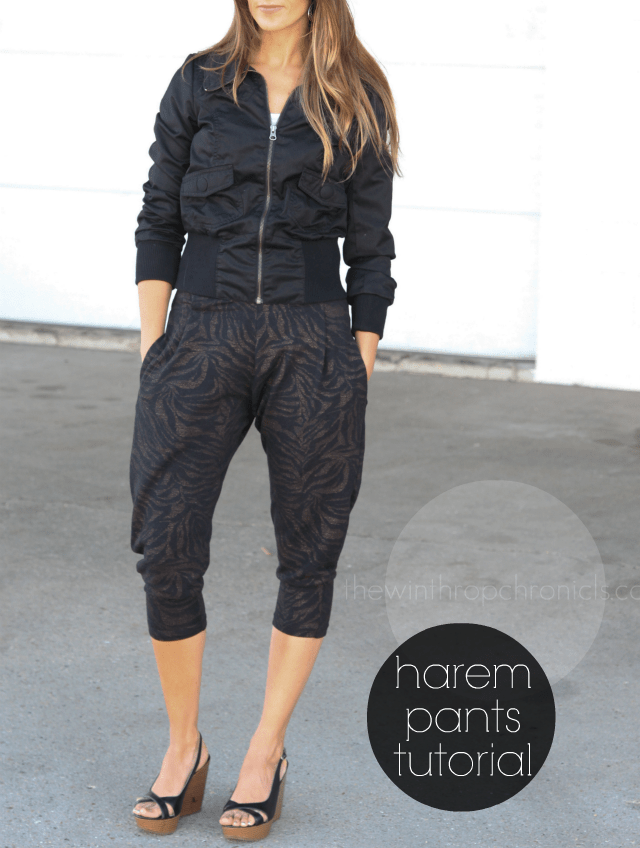 10 Free Women's Comfy & Stylish Pant Sewing Patterns - Round up -Harem Pants Tutorial - from Colors & Craft