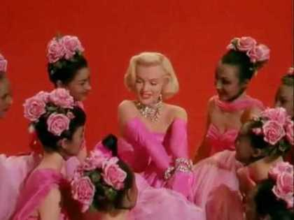 Marilyn Monroe in a famouse scene from Gentlemen Prefer Blondes