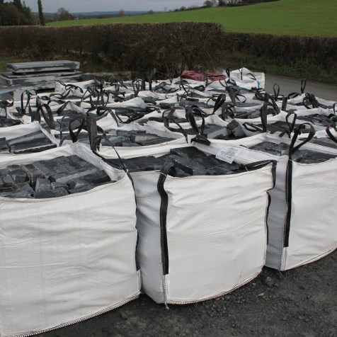 Cut and bagged limestone