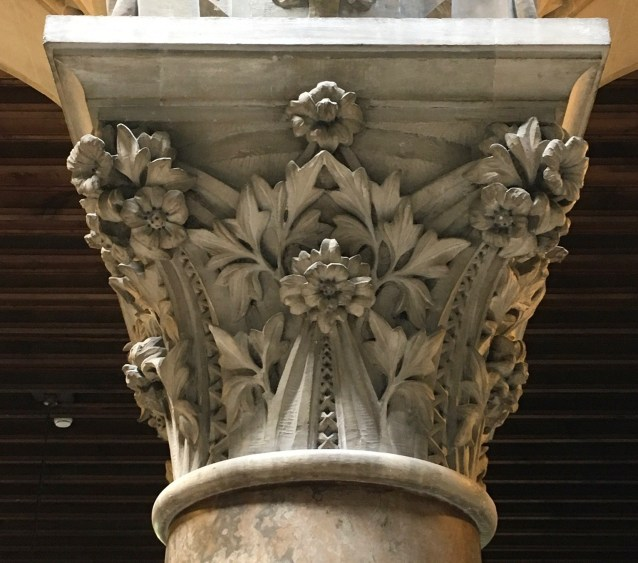 Interior capital showing complexity of carving in Portland Stone
