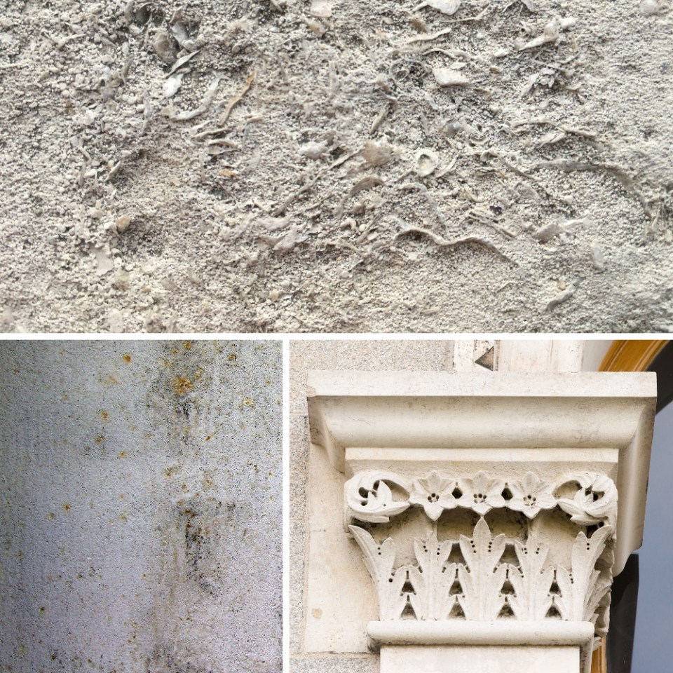 2 Portland stone carved (composite) re-scaled