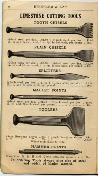 Tools for cutting limestone (19C catalogue)