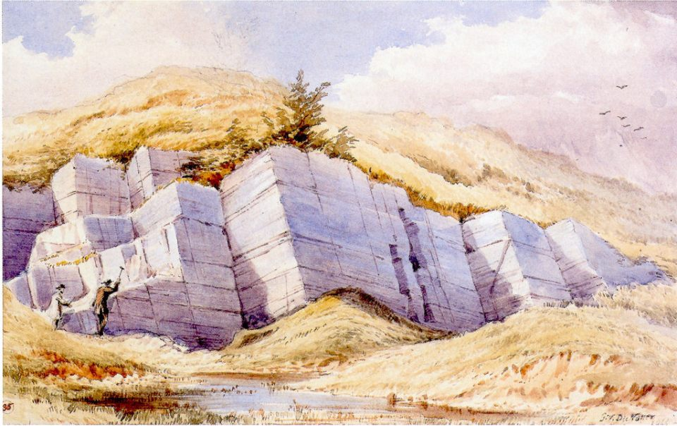 Carboniferous Limestones, Kanturk, Co. Cork. Water colour by G.V. Du Noyer (1866) GSI