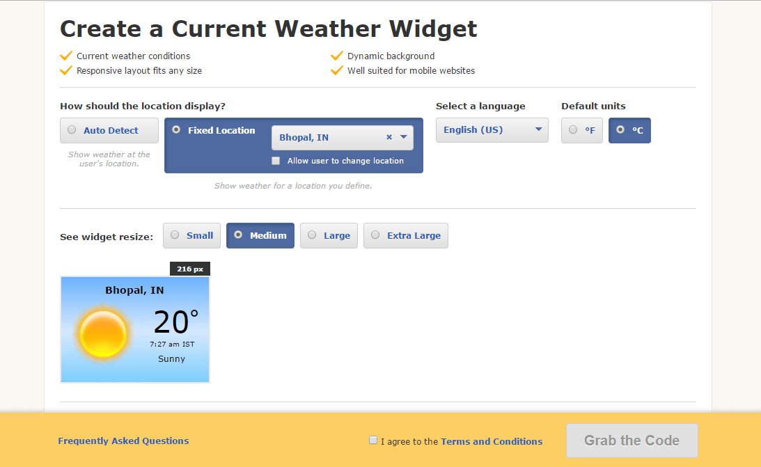 How to show Weather widget on the Website