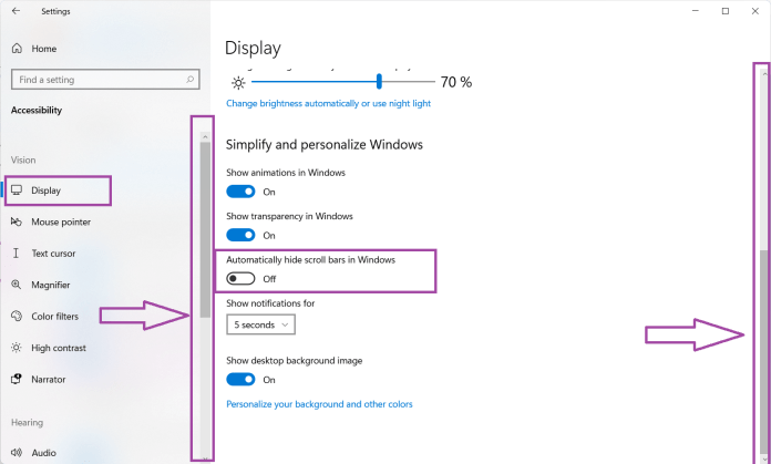 How to always show scrollbars in windows 11
