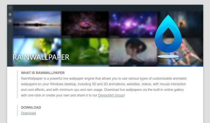Rainwallpaper Live Wallpapers for Windows 11