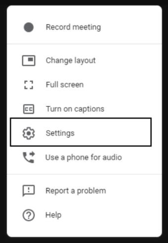 Settings Option in Google Meet