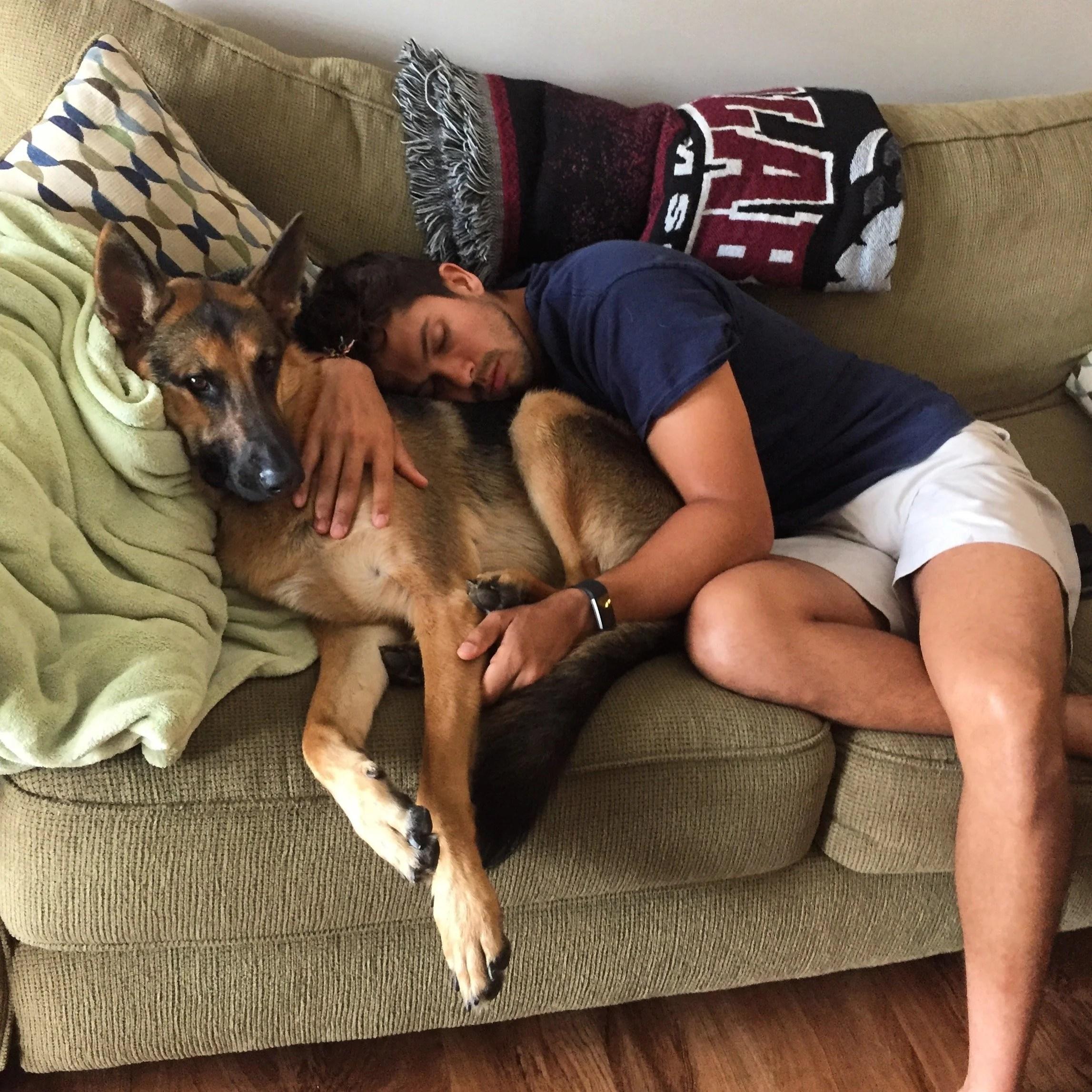 man-sleeping-next-to-his-dog
