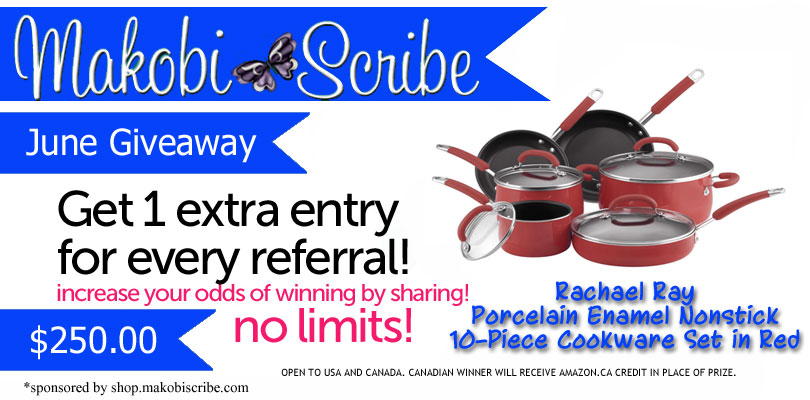 Makobi Scribe Shopping Rachael Ray Red10-Piece Cookware Set Sweepstakes