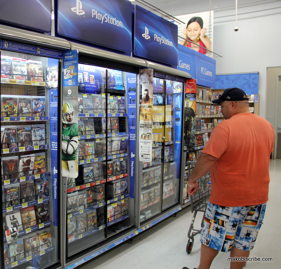 Shopping for video games at Walmart
