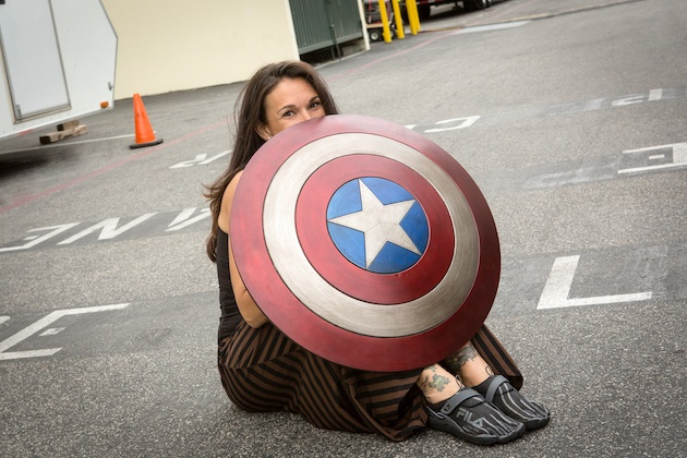 On set at CAPTAIN AMERICA: THE WINTER SOLIDER