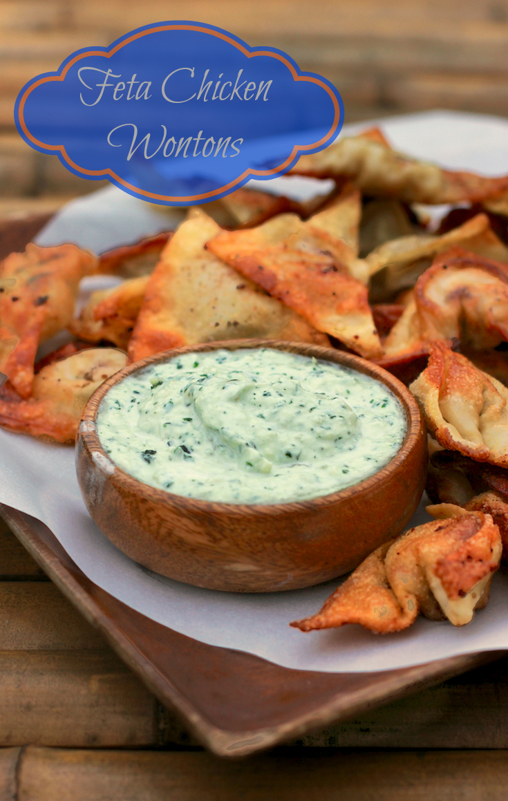 Feta Chicken Wonton Appetizer With Dill Yogurt Sauce #PotsanPans #AppetizerWeek