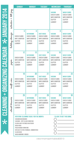 See cleanmama.net for the complete year and more organizational printables
