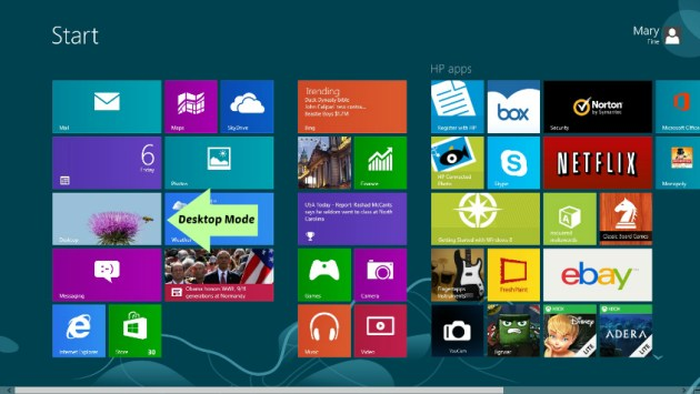 How to use windows 8 in desktop mode tiles