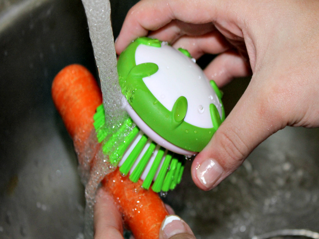 washing veggies
