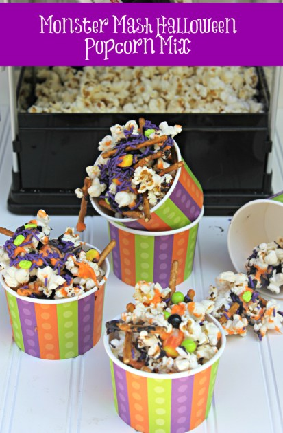 Monster Mash Halloween Popcorn Mix pin