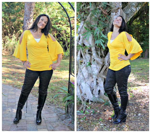 Monroe and Main Back Lace Up Boot, Gold Paisley Pants and Canary Side Sweeping Top