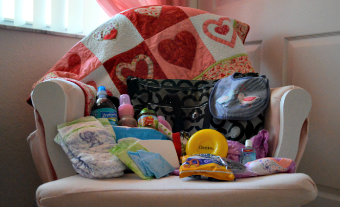 mom essentials in a diaper bag