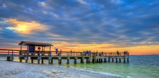 Sanibel Island Fishing Pier at Beach by Lighthouse