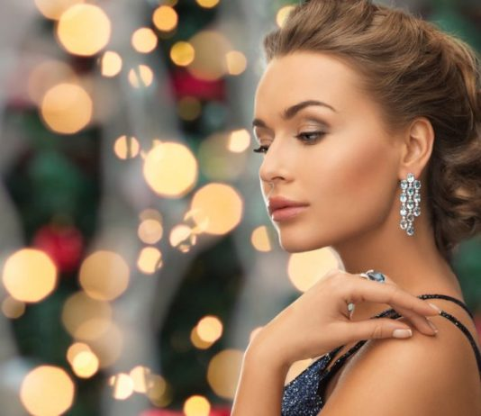 beautiful woman wearing ring and earrings
