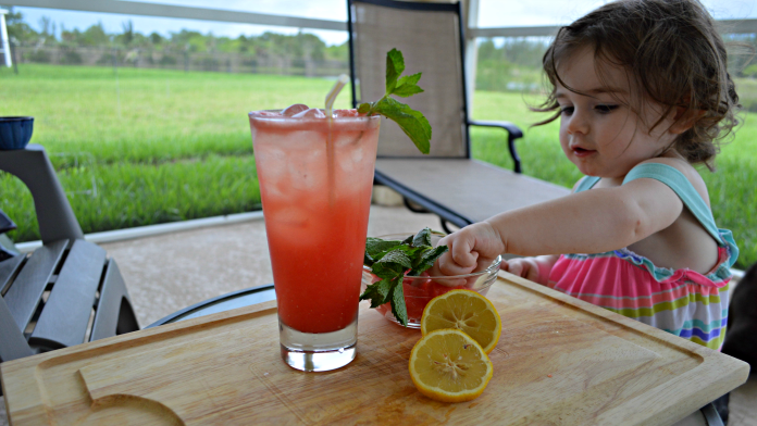 avery eating refreshing summer drink ingredients