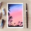 Watercolor Sunset Sky