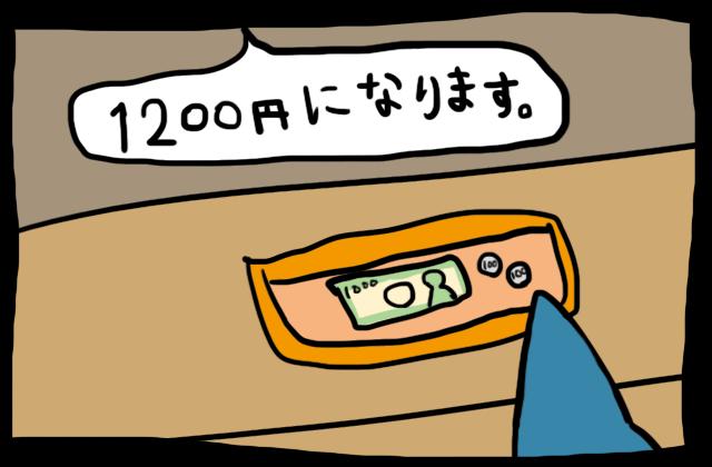 1200円を支払う