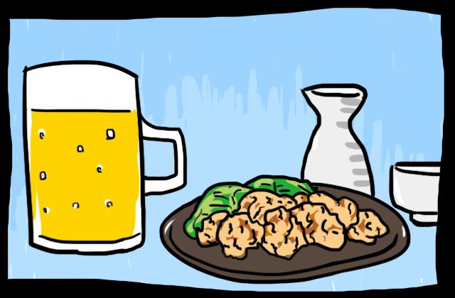ビールと日本酒と唐揚げ