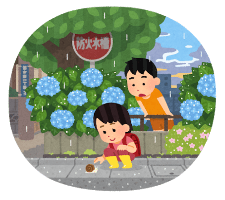 紫陽花と少年少女