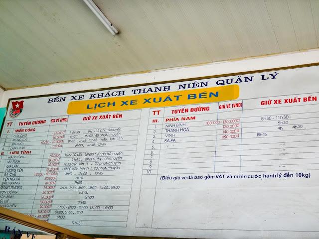 Bãi Cháy Sapa bus time table