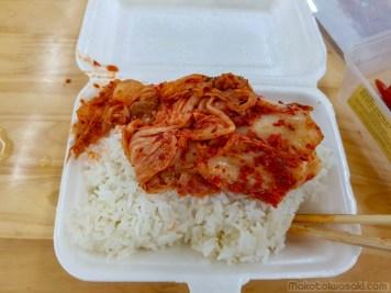 キムチご飯。あまり美味しく感じなかった。