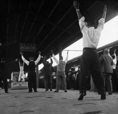 JAPAN. 1951. Exercise for passengers on a train between Kyoto and Tokyo.