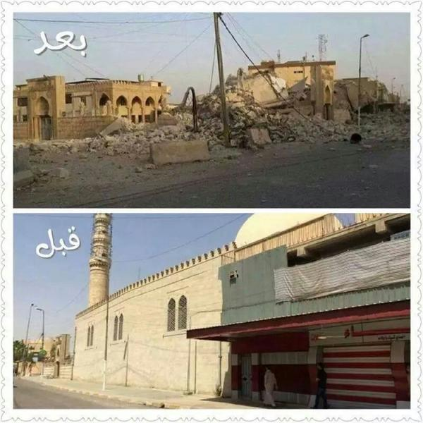 The shrine and mosque or Prophet Sheeth in Mosul, before and after demolition