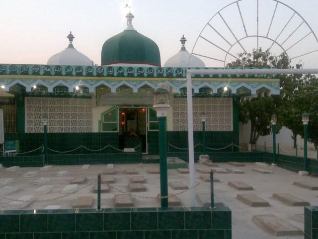 The mausoleum over the tomb of Makhdūm Abul-Qāsim Naqshbandī Thattvī in the Maklī cemetery, Thatta, Sindh, Pakistan.