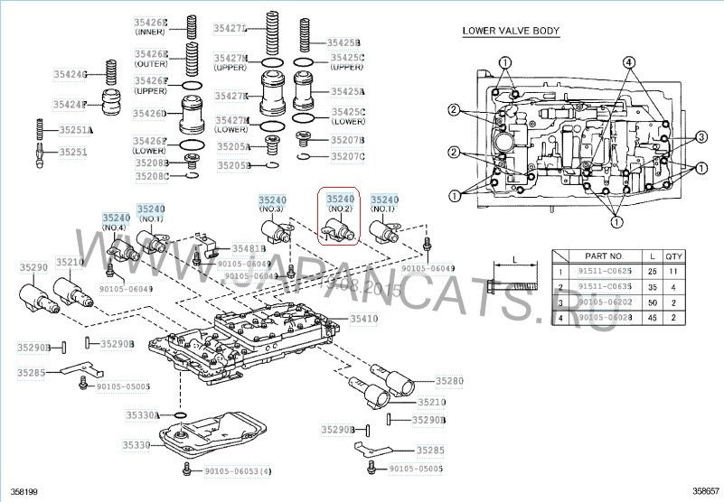 Solenoid SHIFT # 2 automatic transmission A960E 06-up