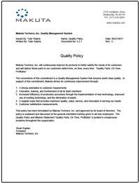 Makuta micro molding enforces a detailed Quality Policy to ensure