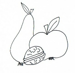 Eine Birne, ein Apfel und eine Nuss symbolisieren die Ernte in diesem herbstgedicht für Senioren.