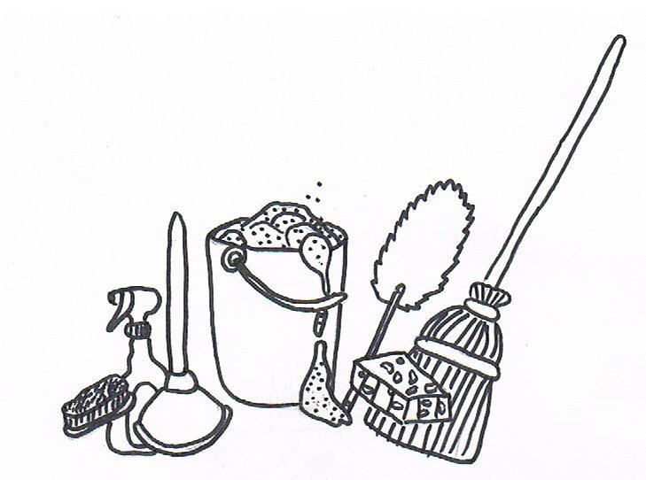 Ein Bild mit Putzmaterialien für die Biografiearbeit.