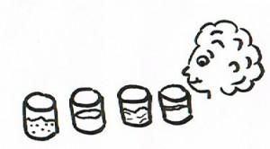 Ein Wahrnehmungsspiel für Seniroen mit Putzmittel.